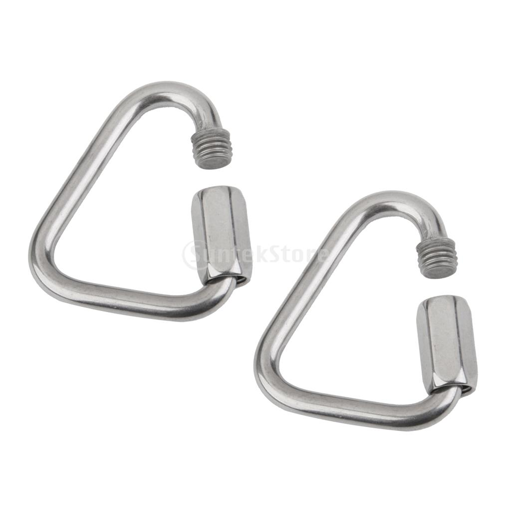 2Pcs Triangle Shape Mountain Rock Climbing Stainless Screw Locking Carabiner