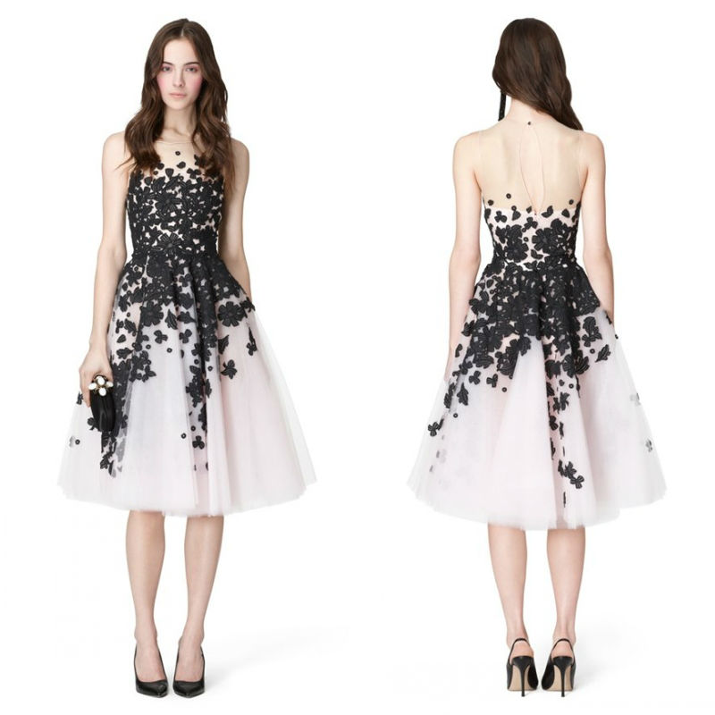 Online Shop 2014 Hot Sale Black and White Lace Appliqued See ...