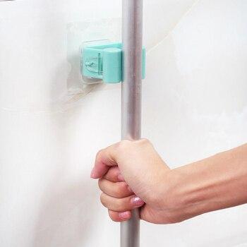 Dropship Mop Hooks Traceless Bathroom Mop Hook Broom Shelf Mop Clamp Bathroom Hooks Bathroom Holder Shower Hooks 6
