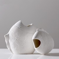 Simple White Fish shaped Vase Flower arranging Vase Creative Multi flesh Ceramic Small Vases Home Decor