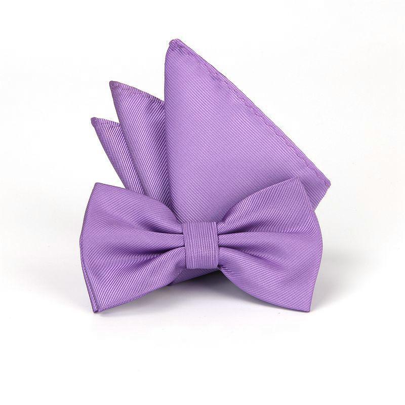 2PCS HISUMA 2020 Men Striped Silk Pocket Square Towel Handkerchief Set Formal Business Suit Banquet Party Jacquard Hanky Bow Tie