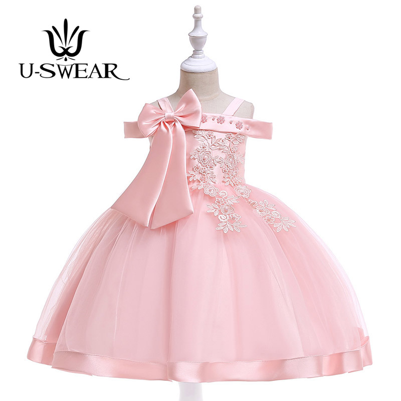 U-SWEAR 2019 New Arrival Kid   Flower     Girl     Dresses   Boat Neck Sleeveless Pearls Beaded Bow Lace Chiffon Ball Gown Vestidos