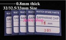 Envío gratis 1 unid 0.8 mm grueso de la buena calidad plana Watch cristal de zafiro del reloj reparación con seleccione tamaño 32/32. 5 / 33 mm