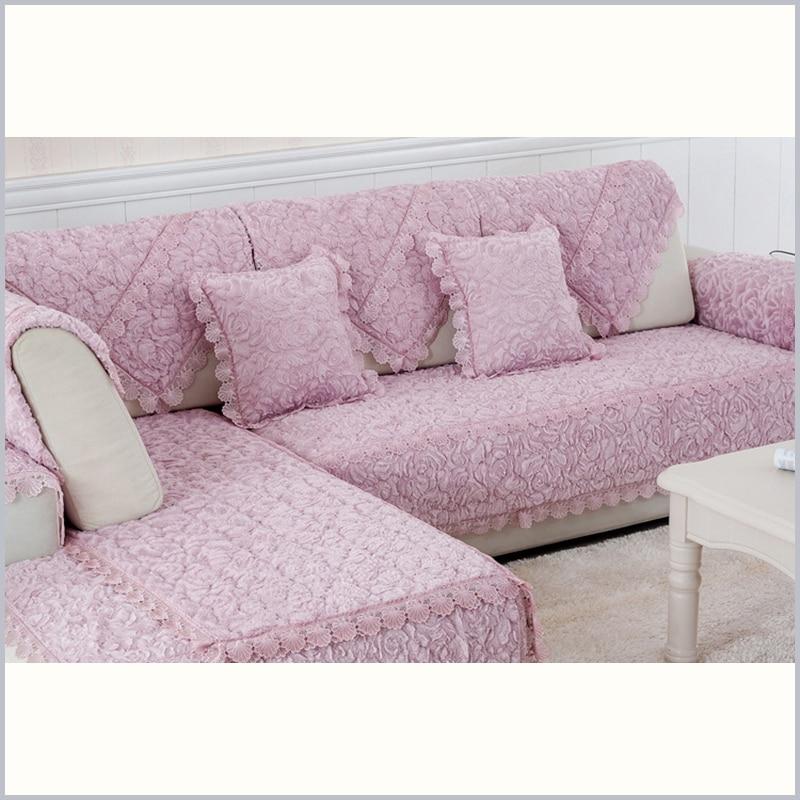 Europe Soft Plush Sofa Cover Solid Sofa Covers Slipcover ...
