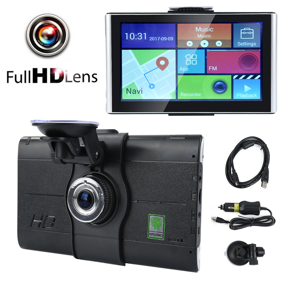 7 inch HD 1920*1080P Wifi andriod TFT Touch Screen Car Vehicle GPS Navigation DVR 170 Degree FM Transmitter XNC