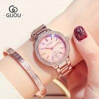 Luxury Fashion Lady Quartz Watch female Round pink zircon stone dial second eye wrist Watch Waterproof Steel watchband G8141