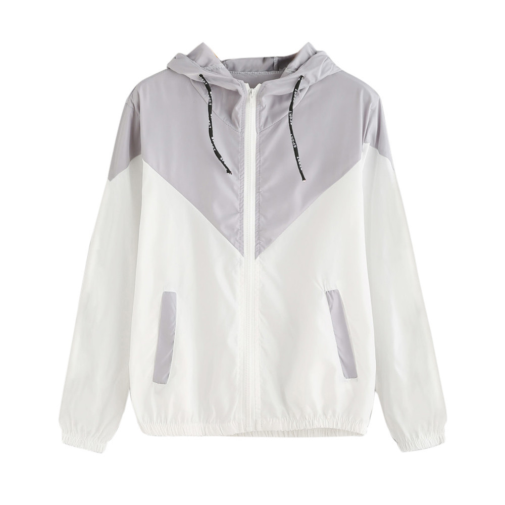 jaket Women Ladies Long Sleeve Patchwork Thin Skinsuits Hooded Zipper Pockets Fitness Co ...