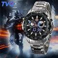 TVG Homens Relógio 2016 Relógio de Quartzo Relógios de Pulso Vestido Masculino LEVOU Relógio Famosa Marca de Luxo Relogio de quartzo-relógio de Aço Inoxidável meninos de presente