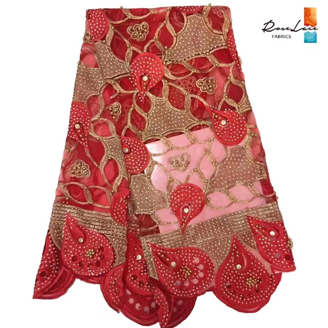 Big Stones And Beads African Swiss Voile Net Lace Fabric Red Material India  Gold Beaded Mesh Tulle Lace Nigeria Party Fabrics 8668ad879533
