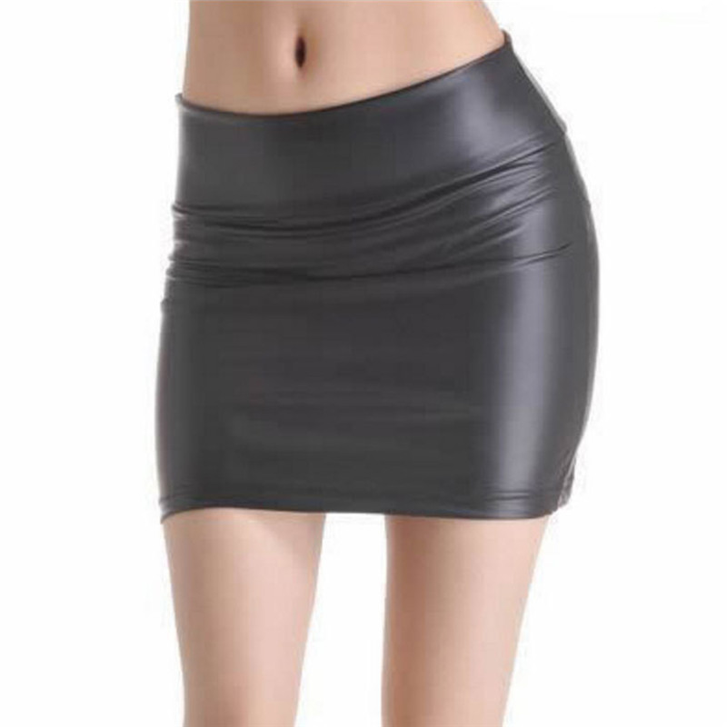 3XL Fashion Women Faux Pu Leather Skirt Female Short Pencil Woman Skirts High Waist Party Clothing Saias Femininas