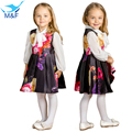 M & F Primavera Outono Vestido Da Menina Do Bebê Sleevess Floral Plissado Do Partido Dos Miúdos Vestido Tutu Vestido de Aniversário de Algodão Roupa Das Crianças traje