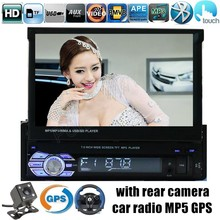 Voiture Radio MP5 MP4 Lecteur GPS Bluetooth Stéréo FM USB TF AUX 1 DIN 7 pouce tactile écran arrière caméra pour choix