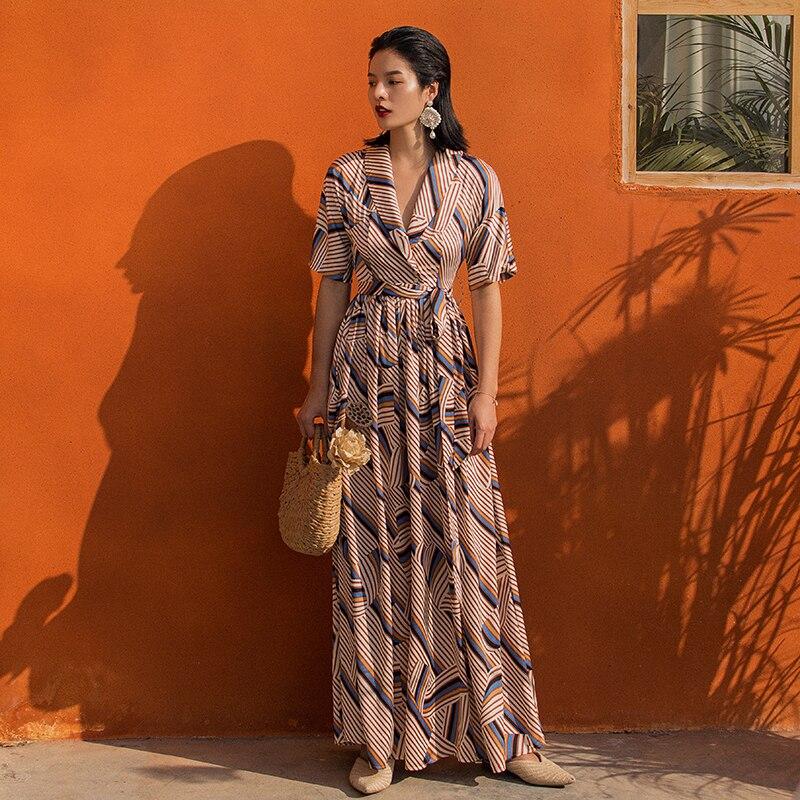 VERRAGEE vintage robe femmes robes été 2019 maxi rose rayé robe col en v