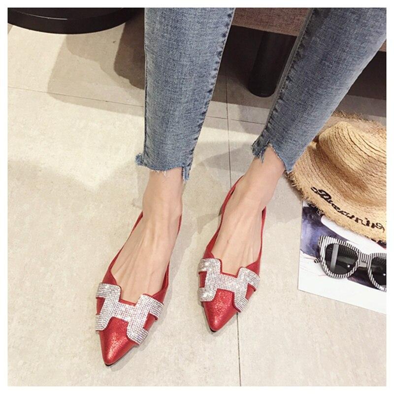 3  SUOJIALUN Vogue Girls Flat Ballet Footwear Bling Crystal Pointed Toe Flats Footwear Elegant Snug Woman Shiny Footwear HTB1a