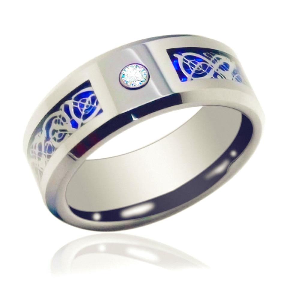 6mm 8mm Blue Silvering Cz Celtic Dragon Tungsten Carbide Ring Mens