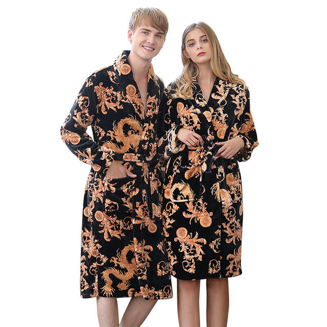 e913a7b41d Winter Chinese Style Men Women Coral Fleece Robe Print Dragon Casual Home  Kimono Bathrobe Gown Lovers Thick Nightgown Sleepwear