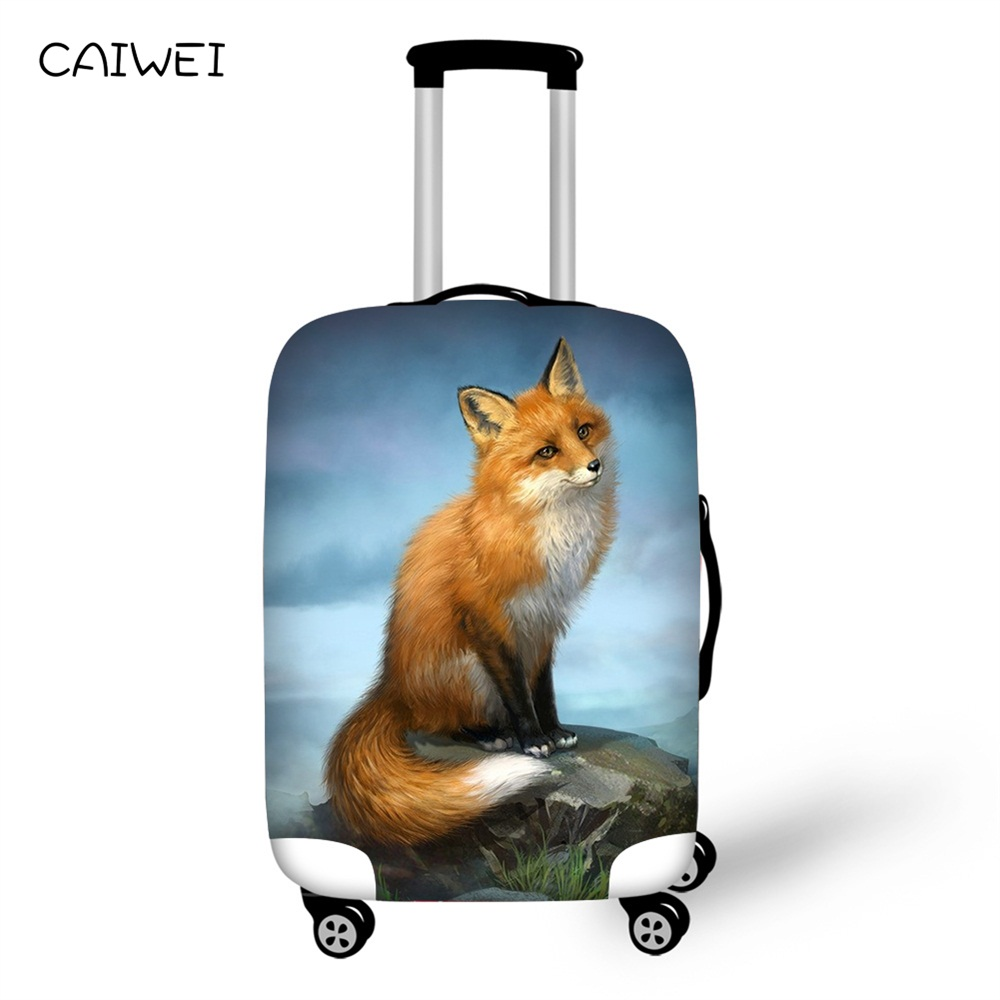 Thickest Luggage Cover Hand Painted Fox Prints Travel Suitcase Protective Cover for 18-30 Case Elastic,Travel AccessoriesThickest Luggage Cover Hand Painted Fox Prints Travel Suitcase Protective Cover for 18-30 Case Elastic,Travel Accessories