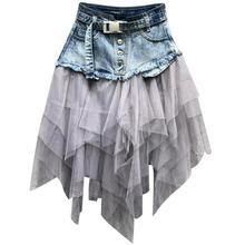 Модная женская джинсовая юбка размера плюс, лето, Новое поступление, Джинсовая юбка трапециевидной формы в стиле пэчворк