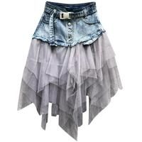 Fashion Women Denim Skirt Plus Size 2019 Summer New Arrival Jeans A line mesh patchwork skirt