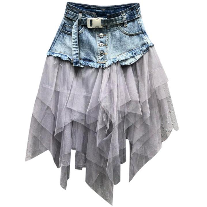 Mode femmes Denim jupe grande taille 2019 été nouveauté Jeans une ligne maille patchwork jupe