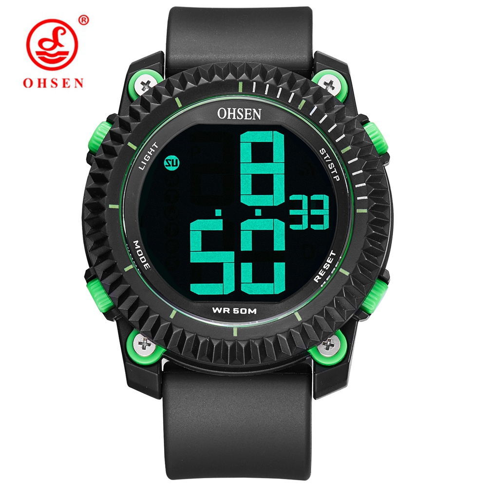 OHSEN Outdoor Sport Waterproof Mens Wristwatch relogio masculino Digital LED Electronic Green Military Watches Alarm Male Clock