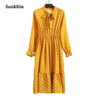 Susi Rita Floral Print Summer Dress Women 2018 Long Sleeve Casual Chiffon Dress Vintage Boho Dresses
