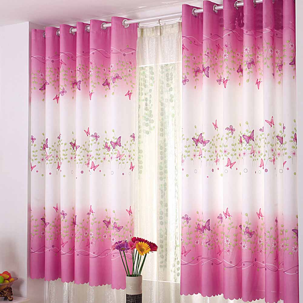 Short Window Curtains For Bedroom Aliexpresscom Buy Butterfly Short Window Curtains For Living