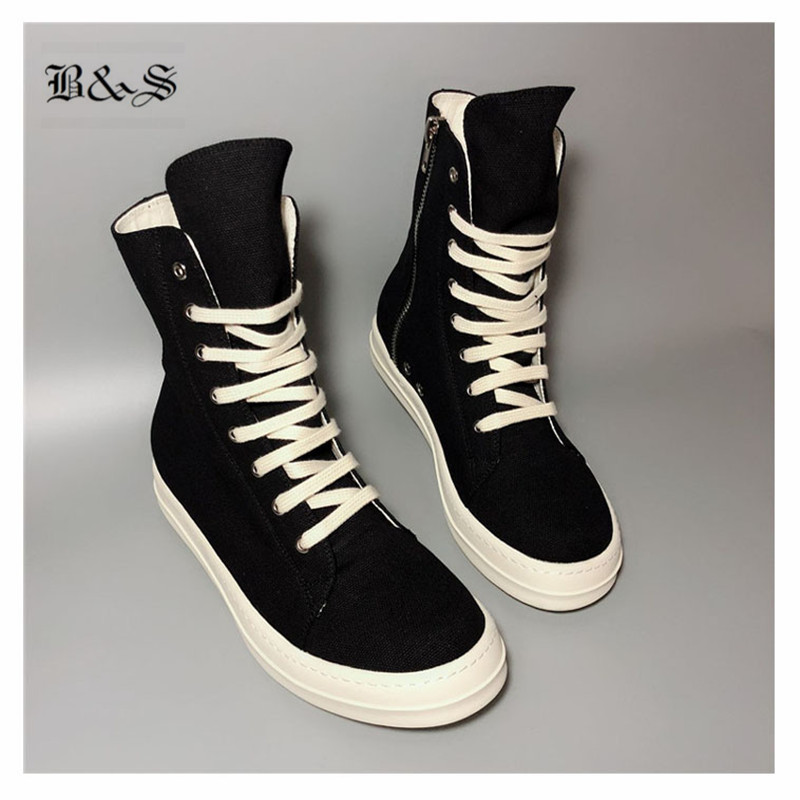 Da Sapatas Rua Couro Canvas Hip Cow Black Hop Canvas Rocha Genuíno wax cotton Esfriar amp; Botas Leather De Lace Up Cera Lona 2018 qB5Ynw68
