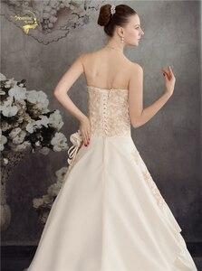 Image 5 - Женское свадебное платье с аппликацией из бисера, атласное ТРАПЕЦИЕВИДНОЕ кружевное платье цвета шампанского с аппликацией, лето 2020