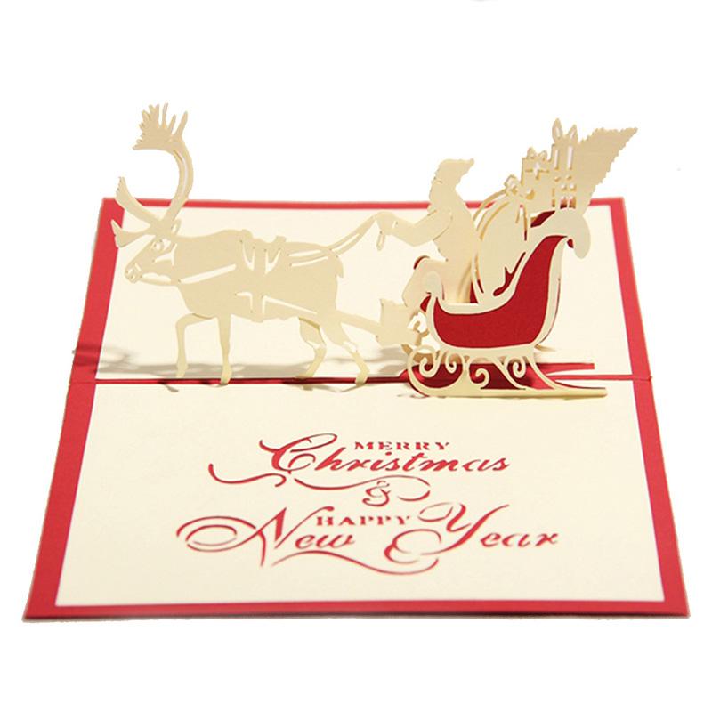 d popup de tarjetas de navidad hechas a mano con el sobre recuerdos feliz