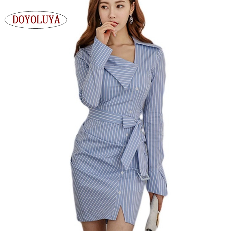 Doyoluya Belt Wrap Strip Dress Shirt Elegant Long