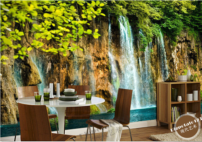 The latest 3D murals,beautiful green tree branches leaves stone waterfall scenery, living room TV sofa bedroom wall paper