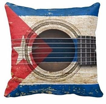 Joy City-guitare acoustique ancien | Avec drapeau cubain, Style Vintage, deux côtés, carré avec fermeture éclair, taies doreiller dimpression de luxe