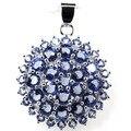 Fashion Circle Rich Blue Violet Tanzanite Created SheCrown Woman's   Silver Pendant 32x25mm