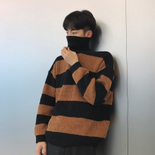 2017 Winter New Men's Stripe Turtleneck Coat Thicken Woolen Casual Pullovers Loose Knitted Long Sleeve In Warm Sweaters M-2xl