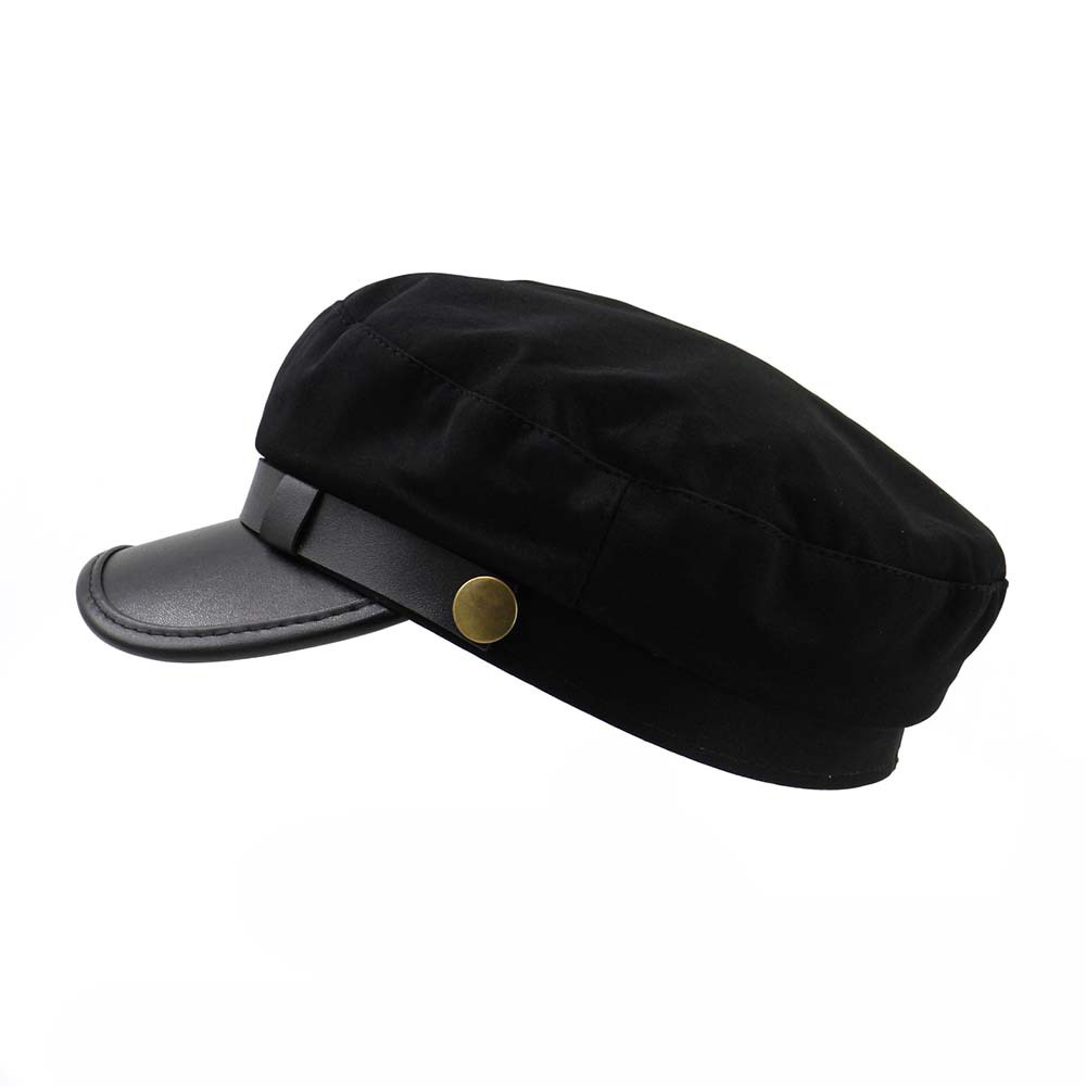 Casual Beret Hat Ladies Spring Summer Military Hat for Women Flat Top Caps Visor PU Leather  Autumn Travel Sun Hat