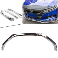 For Accord 2018 Front Bumper Lip Trim Around Grill Below Lips Cover Shovel For Honda Silver Auto ABS Car Protector Accessories
