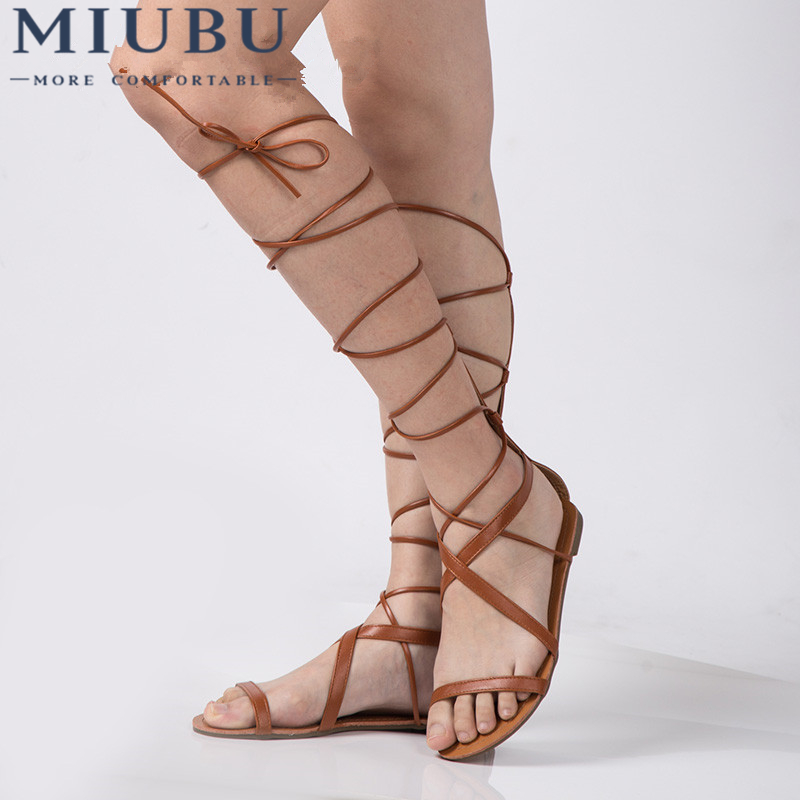 MIUBU Plus Size 5-10 Fashion Gladiator Sandals Women Sexy Cutout Knee High Sandalias Summer Style Casual Flip Flops Shoes купить в Москве 2019