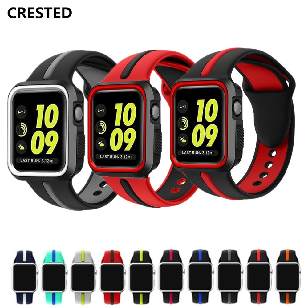 CRESTED Silicone sport strap For Apple watch band case 42mm 38mm iwatch series 3 2 1 wrist bands bracelet belt Protective cover series 1 2 3 soft silicone case for apple watch cover 38mm 42mm fashion plated tpu protective cover for iwatch