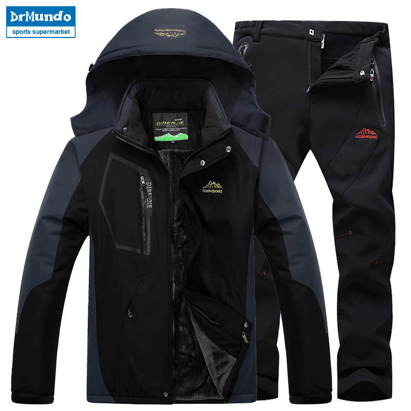 Ski Jacket suits Men Waterproof Fleece Snow Jacket Thermal Coat Outdoor Mountain Skiing Snowboard Jacket suits Plus Size Brand burton gmp eco strapped snowboard jacket gator green mens