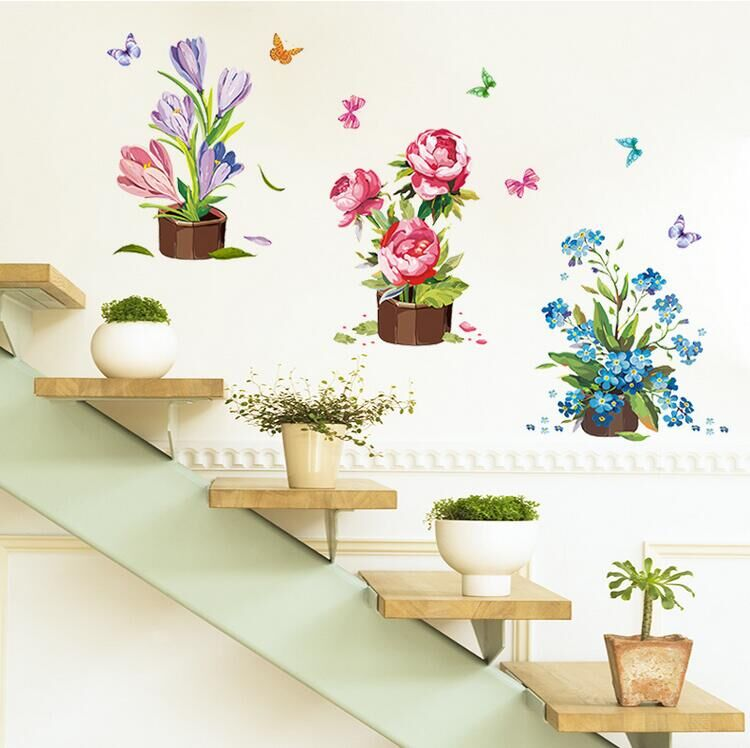Butterfly Terrace Decorative Potted Wall Stickers Home Decor Living