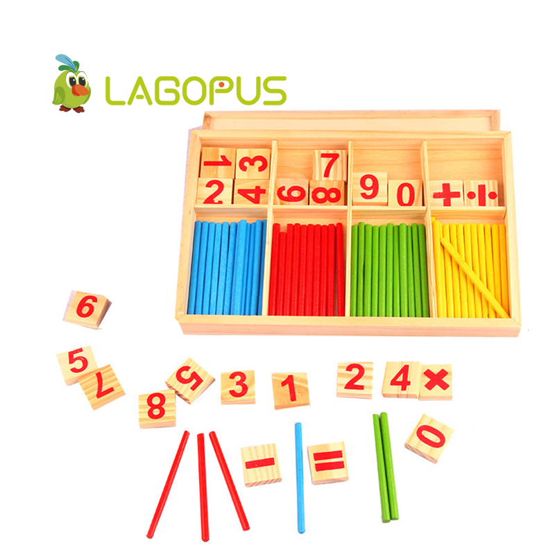 Montessori Math Toy Wooden Number Math Game Sticks Educational Toy Puzzle Kids Learning Teaching Aids Set Child Birthday Gift