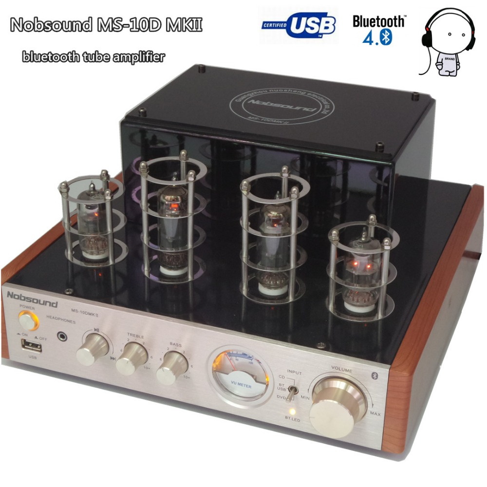 Nobsound MS-10D MKII bluetooth vacuum tube amplifier Hifi 2.0 USB U disk play MP3 music Audio speaker amplifier 25W*2