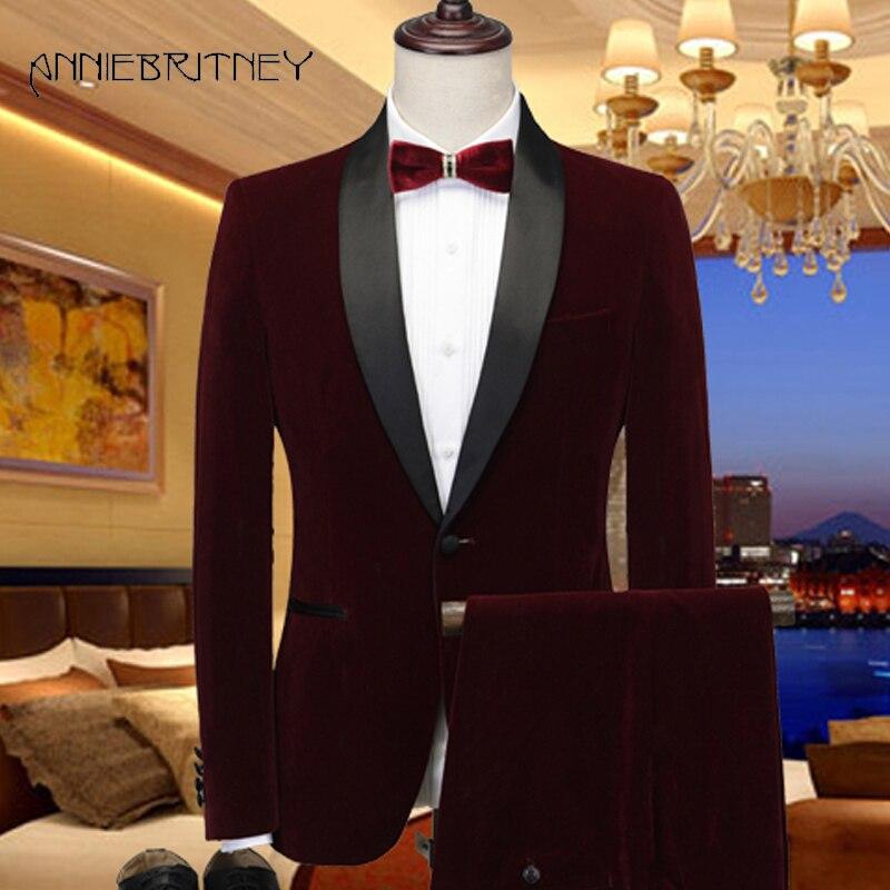 Velvet Suit Wedding Suit for Men Wine Red Marriage Groom Tuxedo Costume Homecome Shawl Lapel Blazer 2 Pieces Terno Masculino