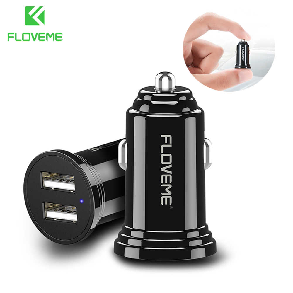 FLOVEME Car Charger For Phone Mini Dual USB Car-Charger 2.4A Fast Charger For iPhone 7 8 X Xs Xiaomi Universal Car Phone Charger