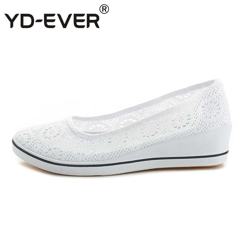 ade03aa0f99f YD-EVER Canvas nurse shoes Solid lace hollow summer Women Platform Casual  Shoes Women Flat