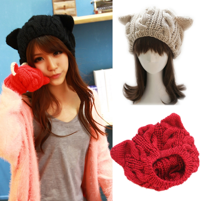 Fashion Lady Girls Winter Warm Knitting Wool Cat Ear Beanie Ski Hat Cap QL Sale