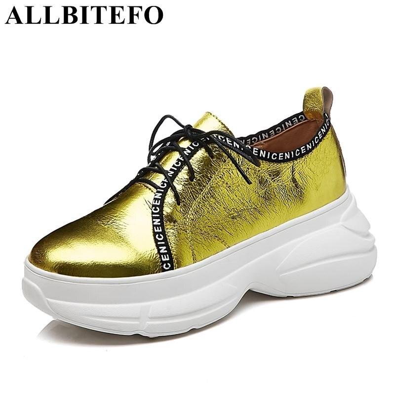 En Sneakers Casual Sport forme Chaussures Femmes Talon Cuir Plate Étanche Mode Coins Allbitefo Appartements or Nouvelle blanc Véritable Bleu ZxPRR0