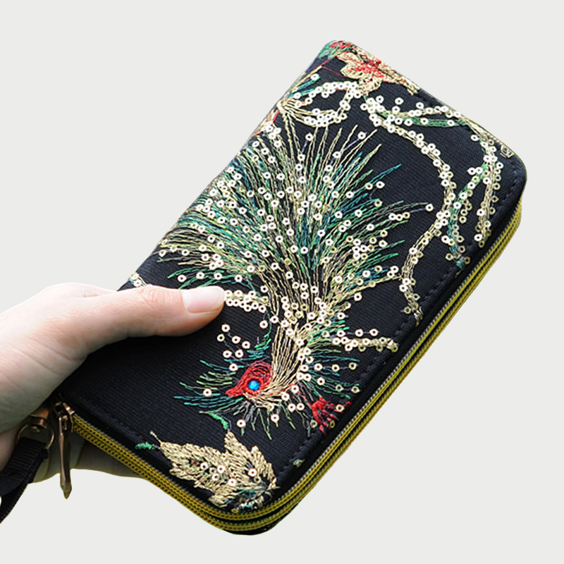 2018 Mode Goldene Phoneix Bestickt Zipper Lange Brieftasche Damen Blume Luxus Marke Geld Tasche Geldbörse Schwarz Karte Halter Fortgeschrittene Technologie üBernehmen