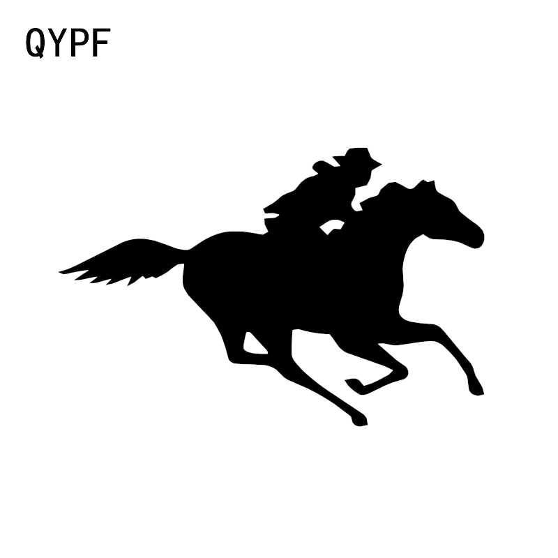 QYPF 14.5*9.5 CM Komik Atlı Spor Dekor Araba Sticker Siluet Vinil Yüksek Kaliteli Grafik C16-0941